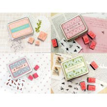 Set of 4 Creative Stamps Lovely Pattern Rubber Stamps, 16 Pcs Each Box