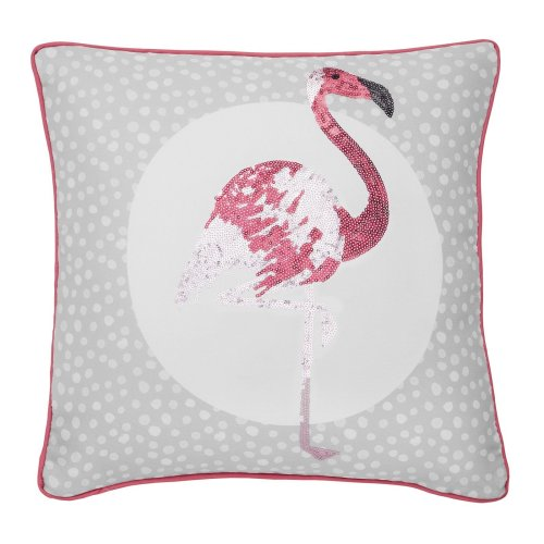 Catherine Lansfield Flamingo Embellished Cushion Cover Grey, 43x43cm