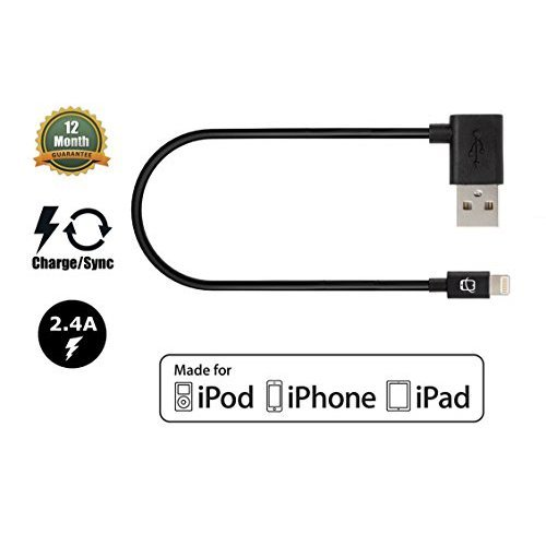 CreatePros Apple Certified Lightning to Angled USB Cable for iPhone iPad and iPod 11 Inches 28 Centimeters Black