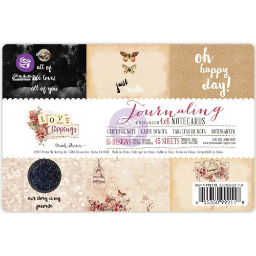 """Love Clippings Journaling Notecards 4""""X6"""" 45/Pkg-15 Double-Sided Designs/3 Each"""