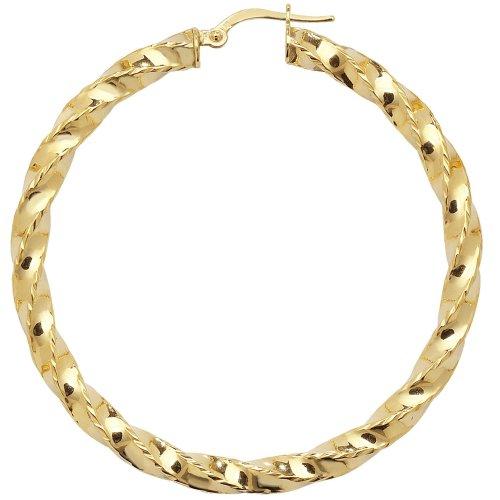 a020f5e6d1913 9ct Yellow Gold Extra Large Diamond Cut Twist Hoop Earrings