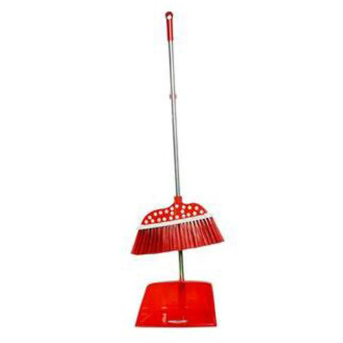 Durable Removable Broom and Dustpan Standing Upright Grips Sweep Set with Long Handle, #C4