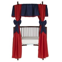 Baby Doll Bedding  Reversible Round Crib Curtains, Navy/Red