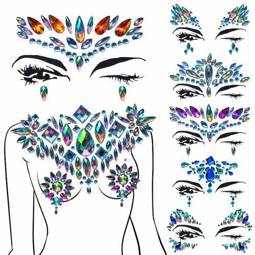Face Gems 8 Pack Jewels Set Festival Intense Shine Prime And Matching Glue On Body Sets Adhesive Blue Kids Face Gem For Festivals And Mermaid Stick...