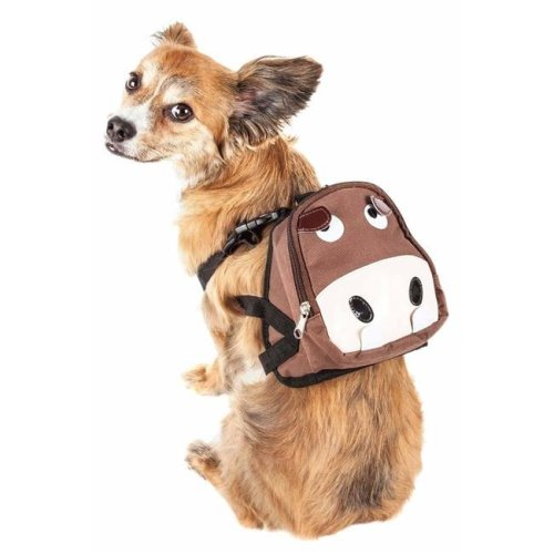 Pet Life BP6BRMD Mooltese Large-Pocketed Compartmental Animated Dog Harness Backpack, Brown - Medium