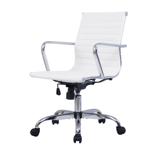 Modern Ergonomic Office Chair PU Leather Med Back