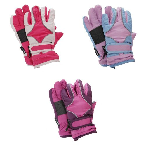 FLOSO Childrens/Kids Girls Heavy Duty Waterproof Padded Thermal Ski/Winter Gloves