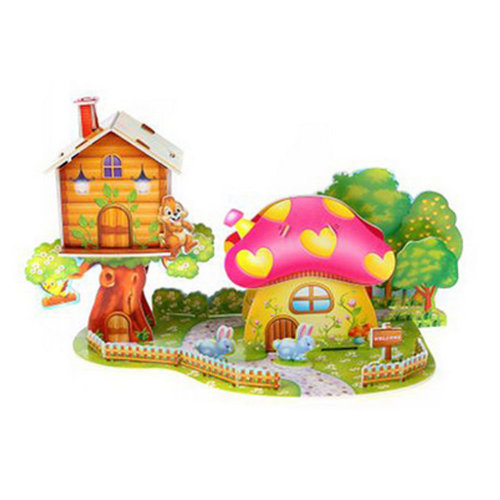 Intelligence Toys 3D Children Paper Jigsaw Puzzles Building Model Mushroom