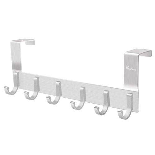 Anjuer Over the Door Hook Hanger, Heavy-duty Storage for Coat, Towel, Bag, Robe - 6 Hooks, Aluminum, Brush Finish (Silver)
