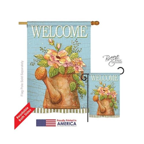 Breeze Decor 00051 Welcome Watering Can 2-Sided Vertical Impression House Flag - 28 x 40 in.