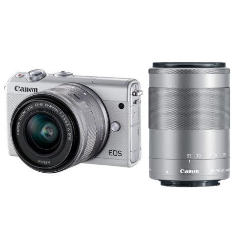CANON EOS M100 White +EF-M 15-45mm F3.5-6.3 IS STM Silver+EF-M 55-200