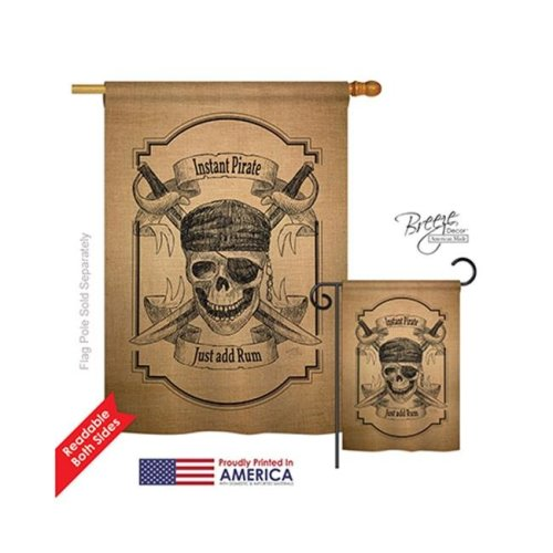 Breeze Decor 07047 Pirate Instant Pirate Burlap 2-Sided Vertical Impression House Flag - 28 x 40 in.
