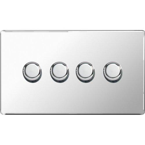 BG-Nexus-Flat-Plate Screwless Flat Plate Four Way Dimmer Switch,Push On/Off 400W,Polished Chrome Finish