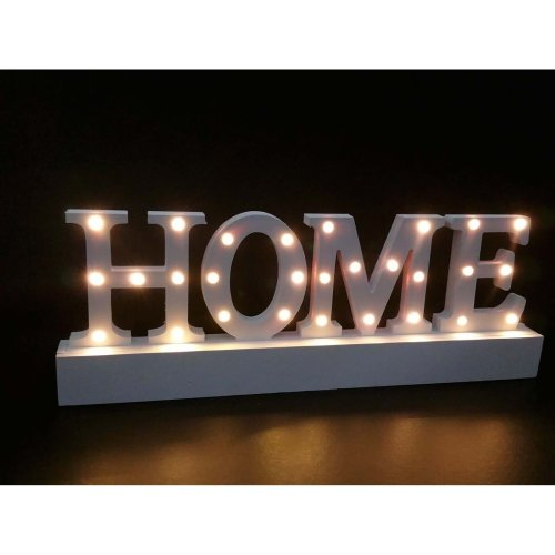 Wooden Light Up Sign Home Decoration Gift Warm White HOME 28 LEDs