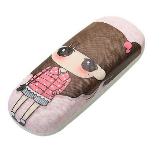 Cute Girl Pattern Eyeglasses Case Cartoon Myopic Glasses Case For Students, Pink