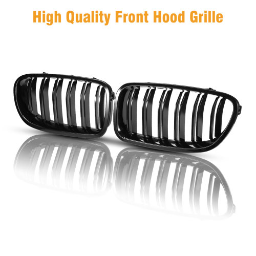 2x Glossy Front Kidney Grilles Grill for BMW F10 F11 F18 5Series 10-16