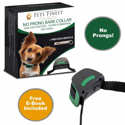 2018 Pets Finest Advanced Intelligent Anti Bark Dog Collar. No Prong Comfort + Dog Whistle Stop Dogs Barking with Sound & Vibration, Small Dogs, No...