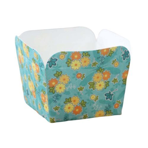 50 Pcs Paper Baking Cup Heat-Resistant Square Cupcake&Muffin Cup - Yellow Flower