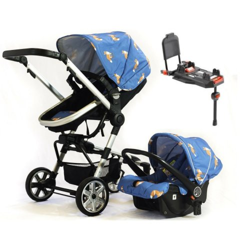 Otti Urban Ranger 2-3-IN-1 Travel System Blue Car Seat & ISOFIX BASE Pram Buggy. From Birth - 4 Years