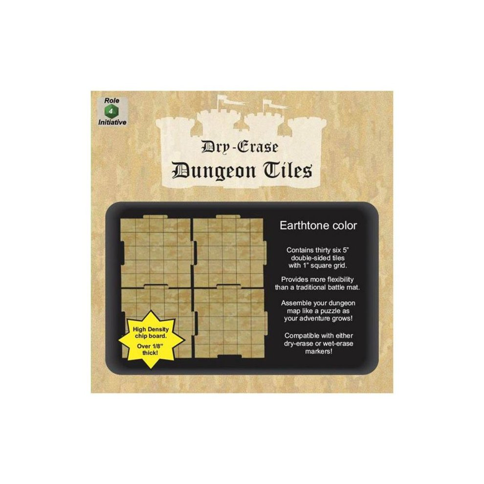 Role 4 Initiative R4I45012 5 in  Square Earthtone Dungeon Tiles - Set of 36