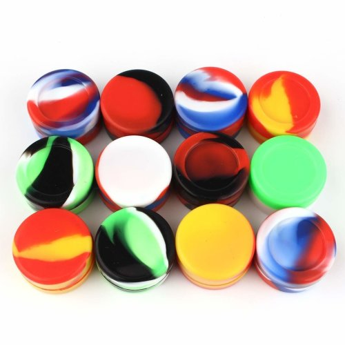 12 pcs 5ml Silicone Container, CEOKS Non Stick Silicone Kitchen Jars Oil Container Dab Wax Multi-Color Storage Rubber Container