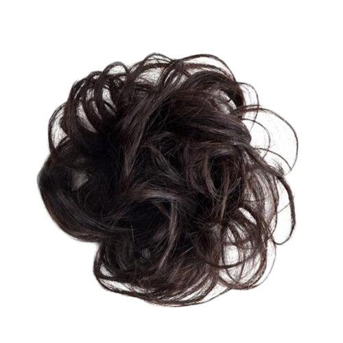 Elegant Soft Human Hair Bun Extension Scrunchie For Ladies, Black