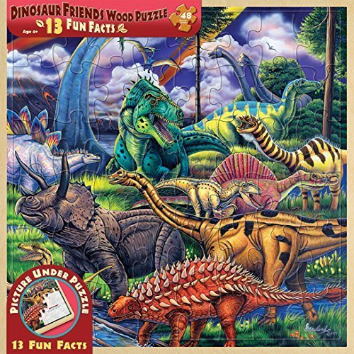 MasterPieces  Fun Facts 48-Piece Wood Puzzle, Dinosaur Friends