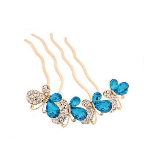 European Style Hair Comb Metal Bowknot Rhinestones Hair Decoration, Blue