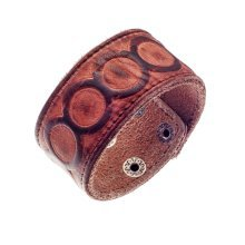 Urban Male Genuine Brown Leather Embossed Cuff Bracelet