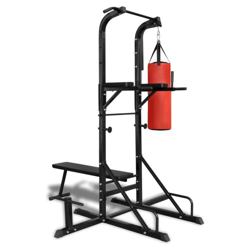 Power Tower with Sit-up Bench and Boxing Bag All-In-One Press Chest Shoulder