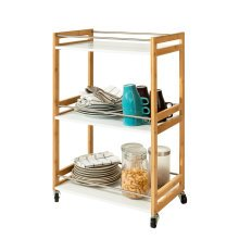SoBuy® FKW32-WN, 3 Tiers Bamboo + MDF Serving Trolley Kitchen Trolley