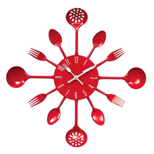 kitchen Cutlery Wall Clock - Red