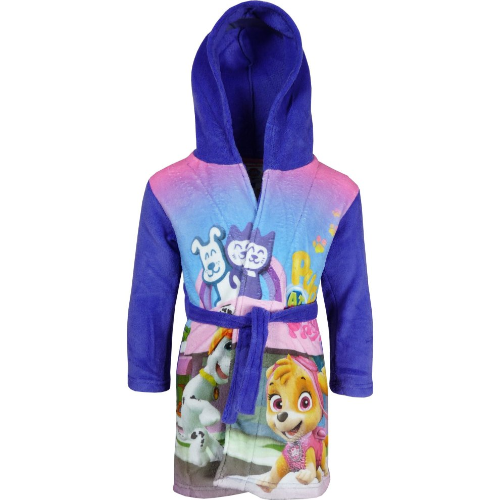 4925528397 Girls DHQ2100 Paw Patrol Fleece Hooded Dressing Gown   Robe Size  3-6  Years.