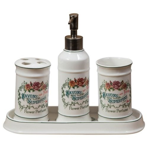 "4 Pieces  White Porcelain Decorated""savons Superfines"" Bathroom Set W25xdp10xh21 Cm Sized"