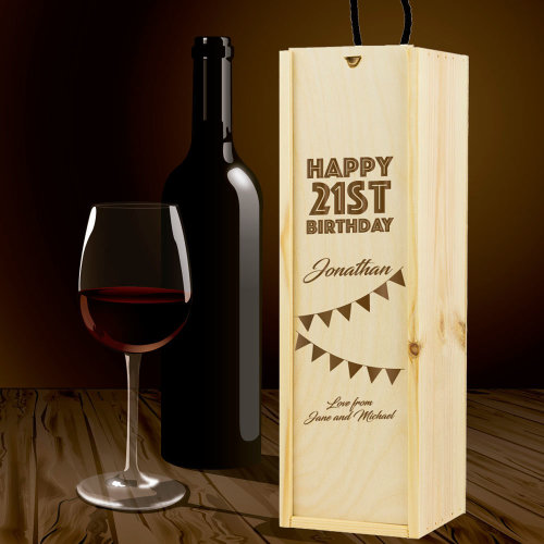 Personalised Wooden Wine Box Birthday Message