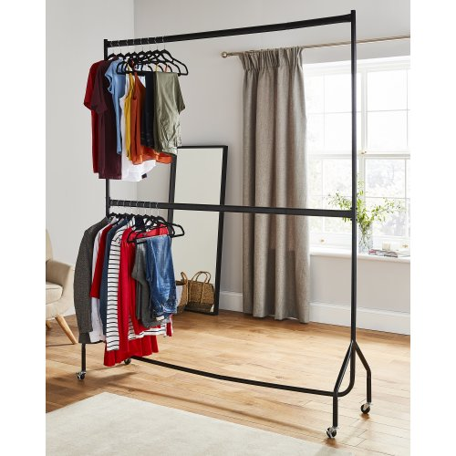 6ft long x 7ft Two Tier Heavy Duty Clothes Rail  In Black