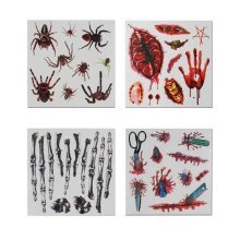 Set of 8 Halloween Scared Tattoo Stickers, Disposable and Waterproof [D]