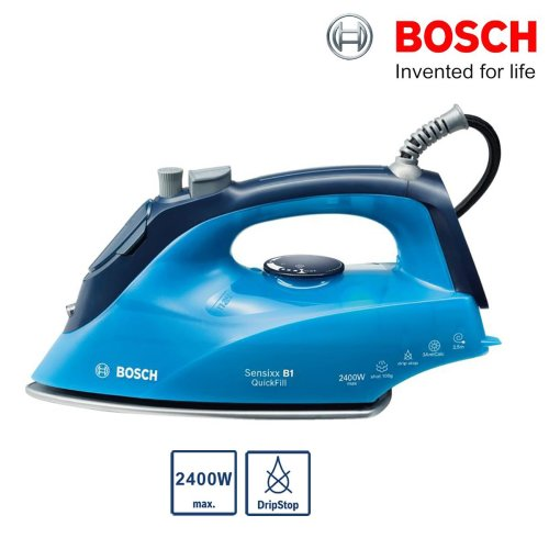 Bosch TDA2660GB Steam Iron 2400W 100g/min Palladium Glissee DripStop Ice Blue