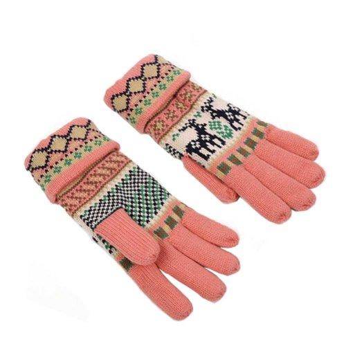 Women's Winter/fall Warm Lovely fawn Knitting Finger Gloves,Pink