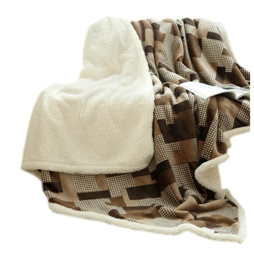 Casual Sofa Blanket Double Layer Soft Throw,Brown,39.4x47.2x1.2 inches #20