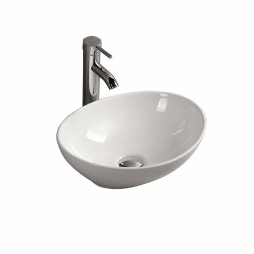 Gimify Ceramic Vessel Wash Basin Sink Contemporary Counter Top Mounted for Cloakroom Bathroom (33x40x14.5cm)
