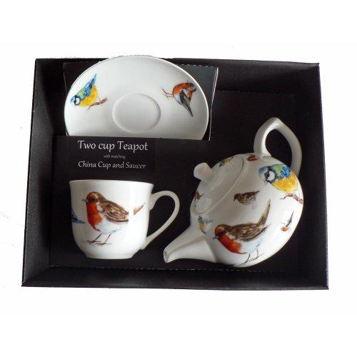 Birds Teapot cup and saucer set Porcelain teapot,china cup & saucer in box