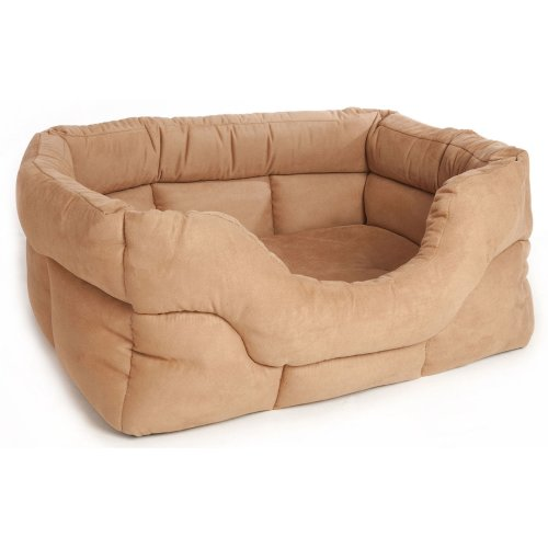 Rectangle Drop Front Softee Bed Faux Suede Tan 57x47x24cm