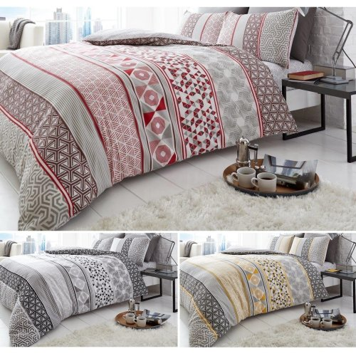 Helsby Iron Age Check Printed Duvet Quilt Cover And Pillow Case Bedding Set On