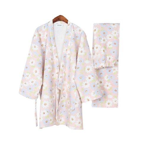 Daisy Cotton Women's Pajamas Suit Autumn & Winter Thicken Kimono Loose Pajamas