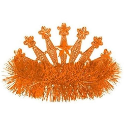 Amscan 395896.05 Star Tinsel Tiara, Orange Peel - Pack of 9