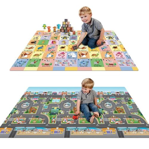 Prince Lionheart Play Mat Abc/city - Prince Lionheart Play Mat Abc City Reversible Water Resistant Playmat Easy Clean